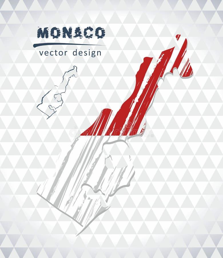 Χάρτης του Μονακό με σχεδιαζόμενο το χέρι χάρτη σκίτσων μέσα επίσης corel σύρετε το διάνυσμα απεικόνισης απεικόνιση αποθεμάτων