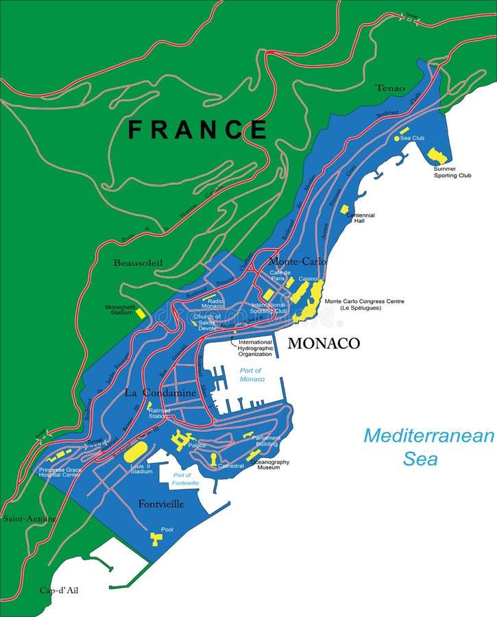 Χάρτης του Μονακό ελεύθερη απεικόνιση δικαιώματος