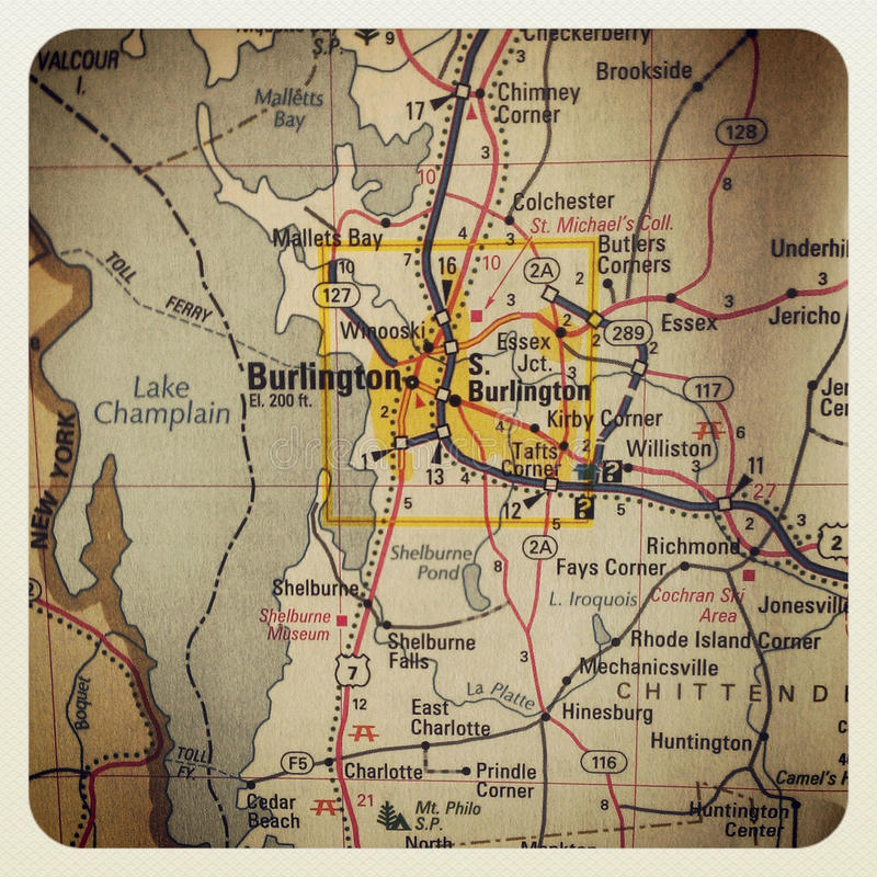 Χάρτης του Μπέρλινγκτον στοκ φωτογραφία με δικαίωμα ελεύθερης χρήσης