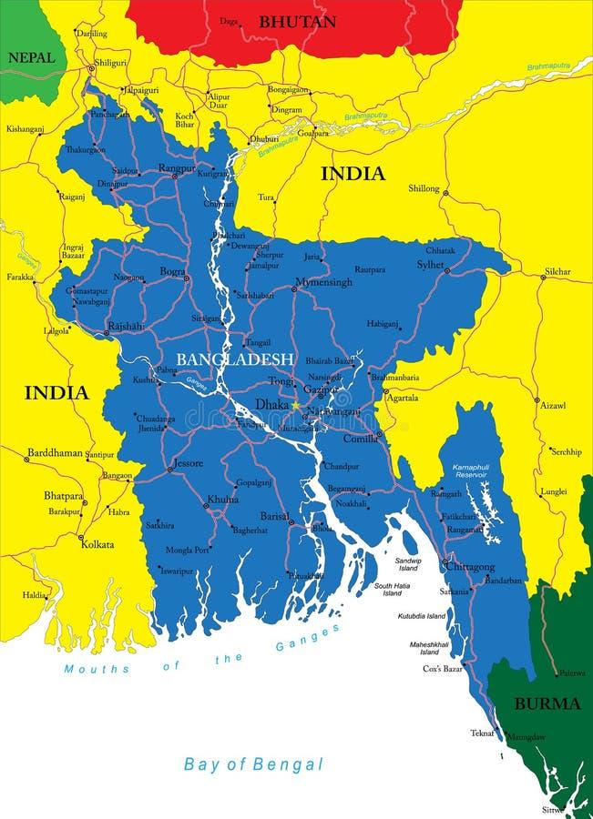 Χάρτης του Μπανγκλαντές διανυσματική απεικόνιση