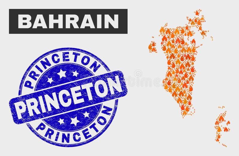 Χάρτης του Μπαχρέιν μωσαϊκών πυρκαγιάς και σφραγίδα γραμματοσήμων Grunge Princeton ελεύθερη απεικόνιση δικαιώματος