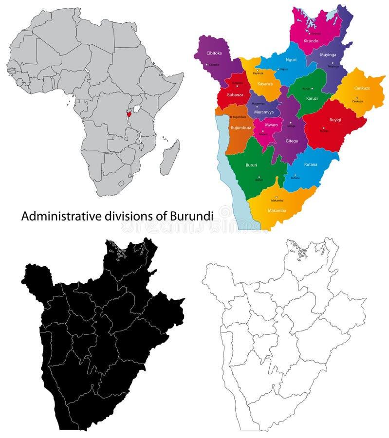 Χάρτης του Μπουρούντι διανυσματική απεικόνιση