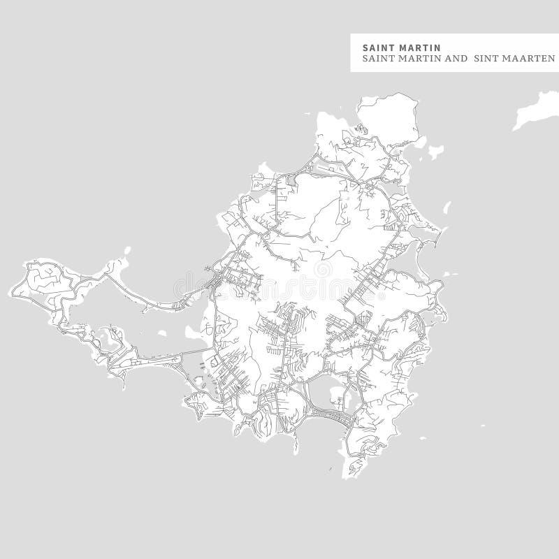 Χάρτης του νησιού Αγίου Martin διανυσματική απεικόνιση