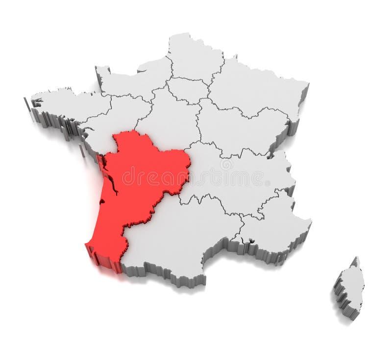 Χάρτης του νουβέλα-Aquitaine της περιοχής, Γαλλία απεικόνιση αποθεμάτων