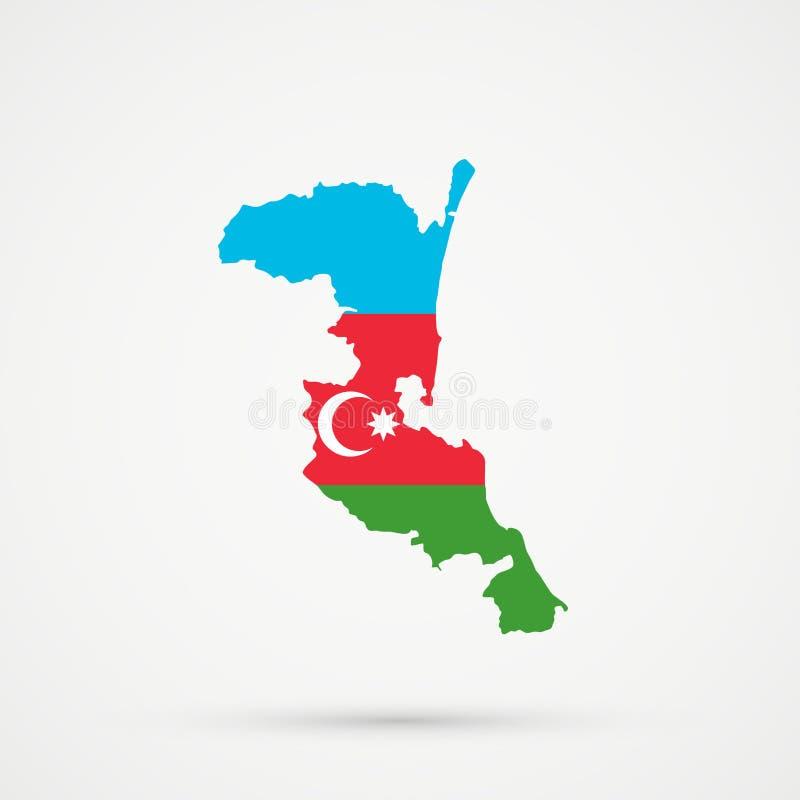 Χάρτης του Νταγκεστάν Kumykia στα χρώματα σημαιών του Αζερμπαϊτζάν, editable διάνυσμα διανυσματική απεικόνιση