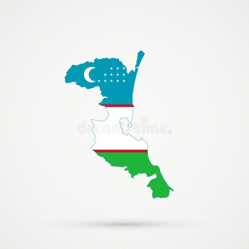 Χάρτης του Νταγκεστάν Kumykia στα χρώματα σημαιών του Ουζμπεκιστάν, editable διάνυσμα διανυσματική απεικόνιση