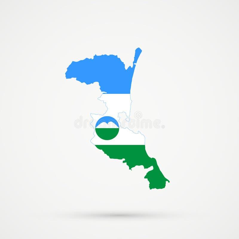 Χάρτης του Νταγκεστάν Kumykia στα χρώματα σημαιών της Καμπαρντίνος-Μπαλκαρία, editable διάνυσμα ελεύθερη απεικόνιση δικαιώματος