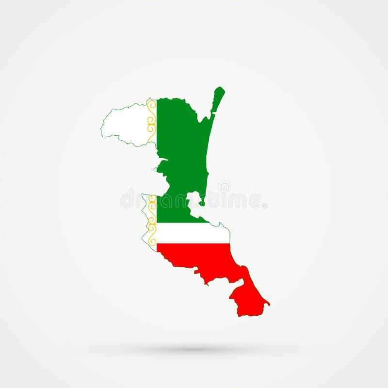 Χάρτης του Νταγκεστάν Kumykia στα χρώματα σημαιών Τσετσενίας, editable διάνυσμα απεικόνιση αποθεμάτων