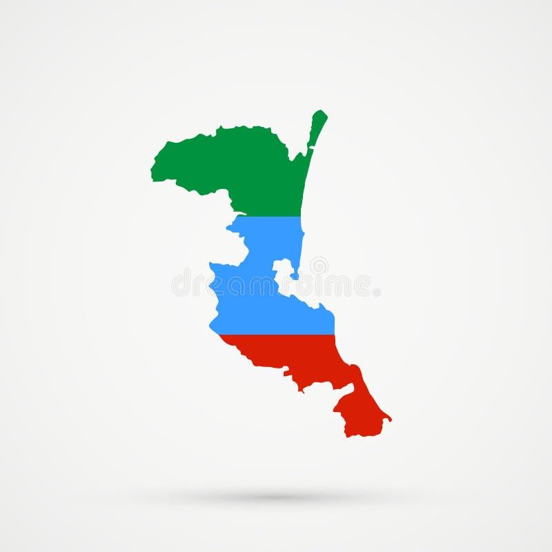 Χάρτης του Νταγκεστάν Kumykia στα χρώματα σημαιών του Νταγκεστάν, editable διάνυσμα ελεύθερη απεικόνιση δικαιώματος