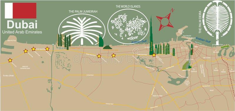 χάρτης του Ντουμπάι πόλεων διανυσματική απεικόνιση