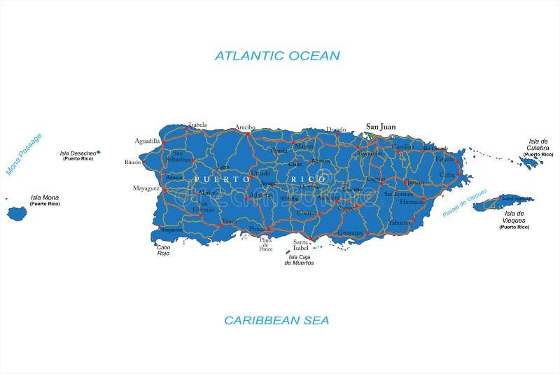 Χάρτης του Πουέρτο Ρίκο διανυσματική απεικόνιση