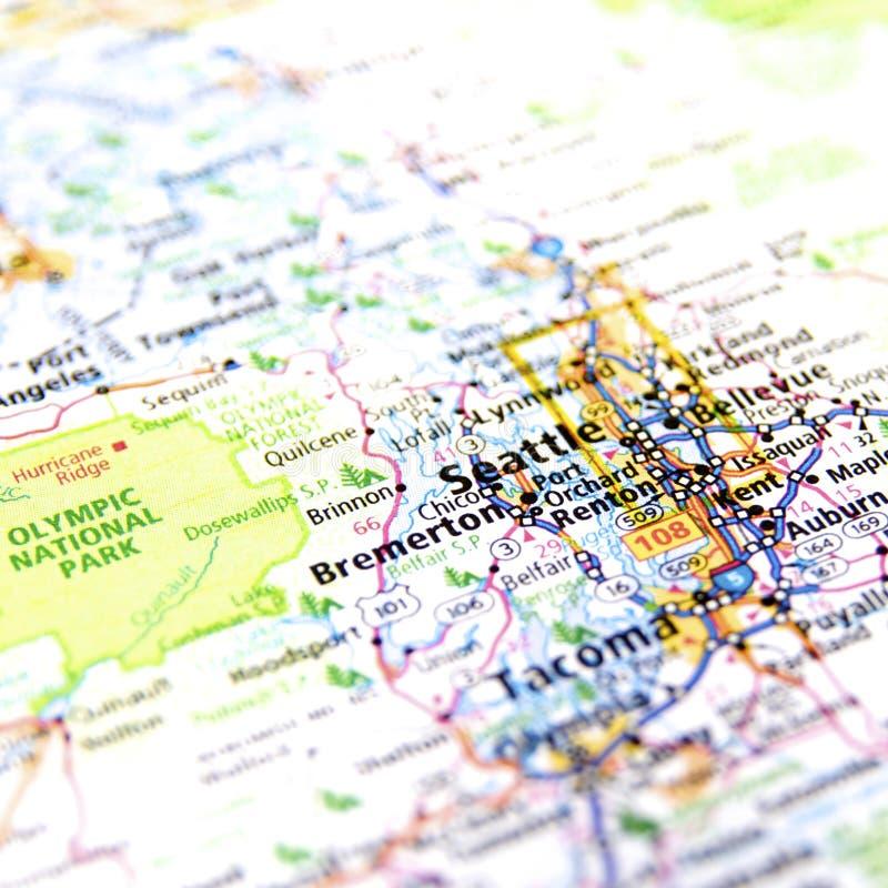 Χάρτης του Σιάτλ στοκ φωτογραφία με δικαίωμα ελεύθερης χρήσης