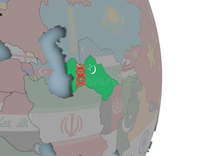 Χάρτης του Τουρκμενιστάν στην πολιτική σφαίρα με τη σημαία απεικόνιση αποθεμάτων