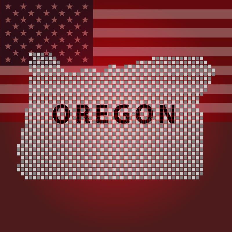 Χάρτης του Όρεγκον των γεωμετρικών τετραγώνων, μέρος των Ηνωμένων Πολιτειών της Αμερικής διανυσματική απεικόνιση