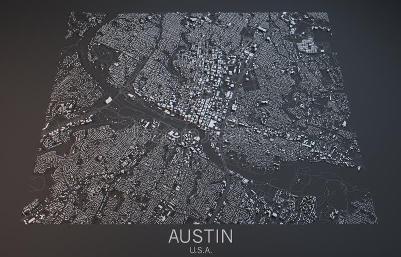 Χάρτης του Ώστιν, δορυφορική άποψη, Τέξας, Ηνωμένες Πολιτείες ελεύθερη απεικόνιση δικαιώματος