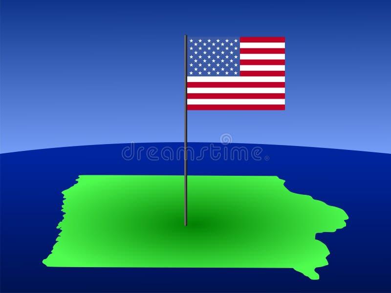 χάρτης του Iowa σημαιών απεικόνιση αποθεμάτων