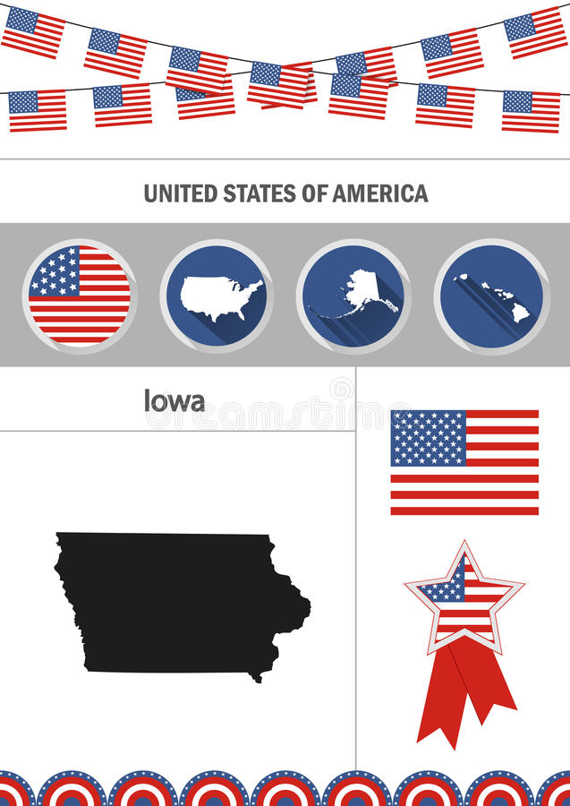 χάρτης του Iowa Σύνολο επίπεδων στοιχείων nfographics εικονιδίων σχεδίου με ελεύθερη απεικόνιση δικαιώματος