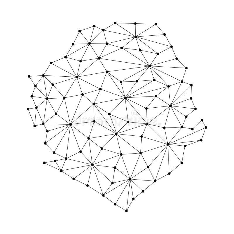 Χάρτης του Sierra Leone του polygonal δικτύου γραμμών μωσαϊκών, ακτίνες, απεικόνιση σημείων ελεύθερη απεικόνιση δικαιώματος