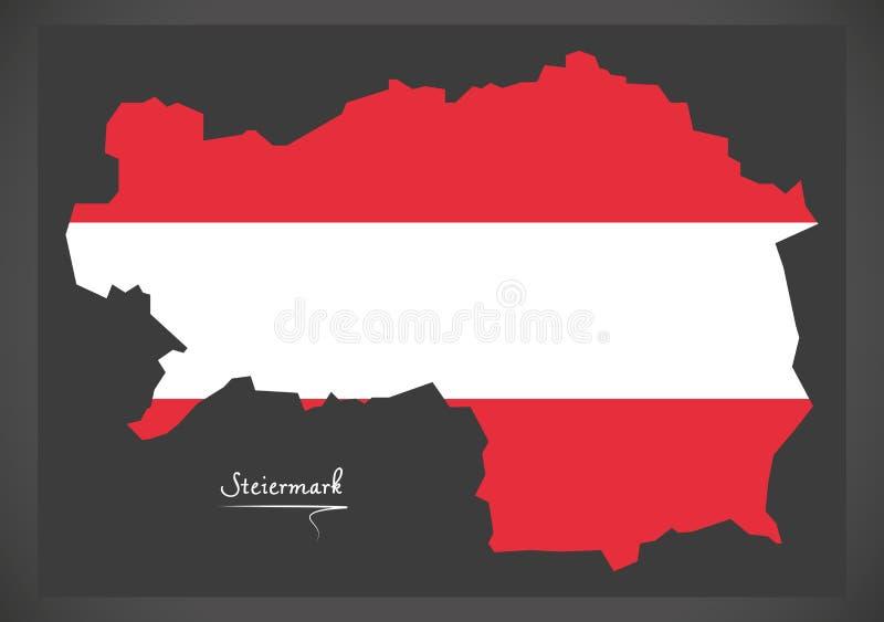 Χάρτης του Steiermark της Αυστρίας με το αυστριακό illustrati εθνικών σημαιών ελεύθερη απεικόνιση δικαιώματος