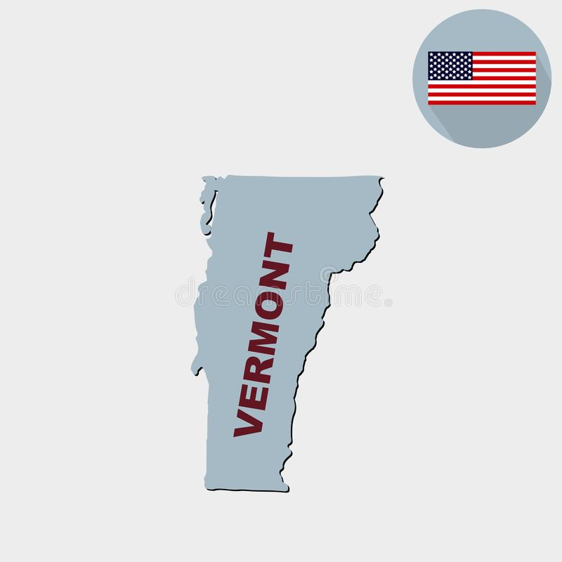 Χάρτης του U S κατάσταση του Βερμόντ σε ένα γκρίζο υπόβαθρο _ ελεύθερη απεικόνιση δικαιώματος