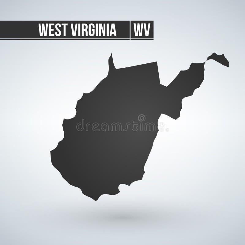 Χάρτης του U S κατάσταση της διανυσματικής απεικόνισης της δυτικής Βιρτζίνια απεικόνιση αποθεμάτων