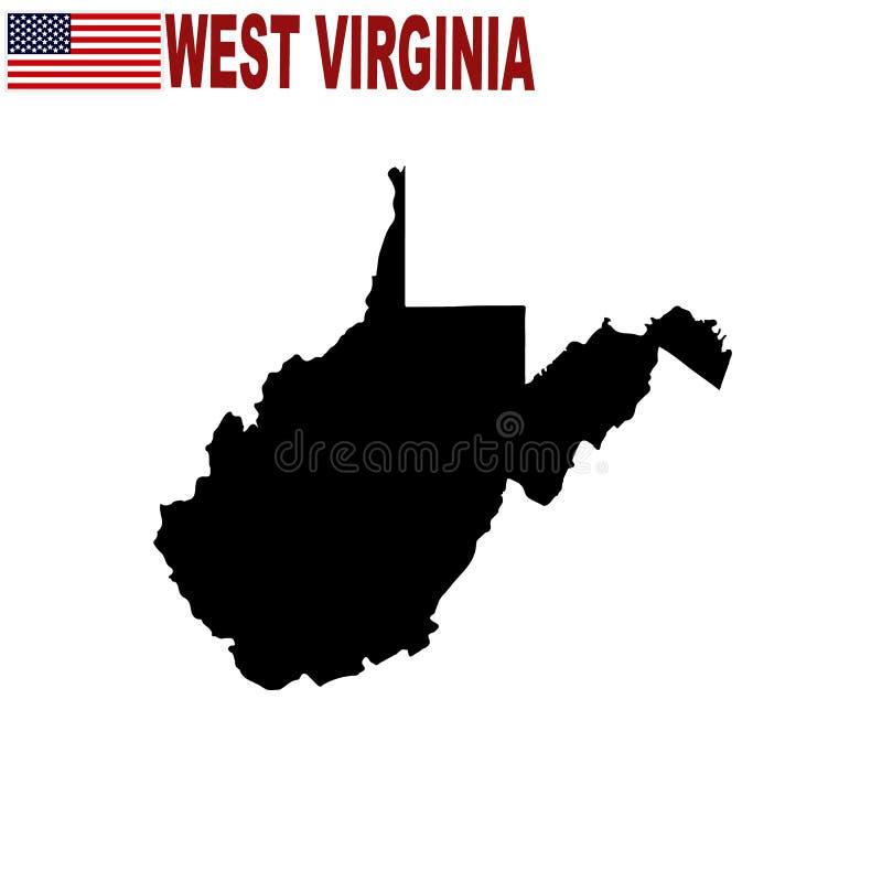 Χάρτης του U S κατάσταση της δυτικής Βιρτζίνια σε ένα άσπρο υπόβαθρο ελεύθερη απεικόνιση δικαιώματος