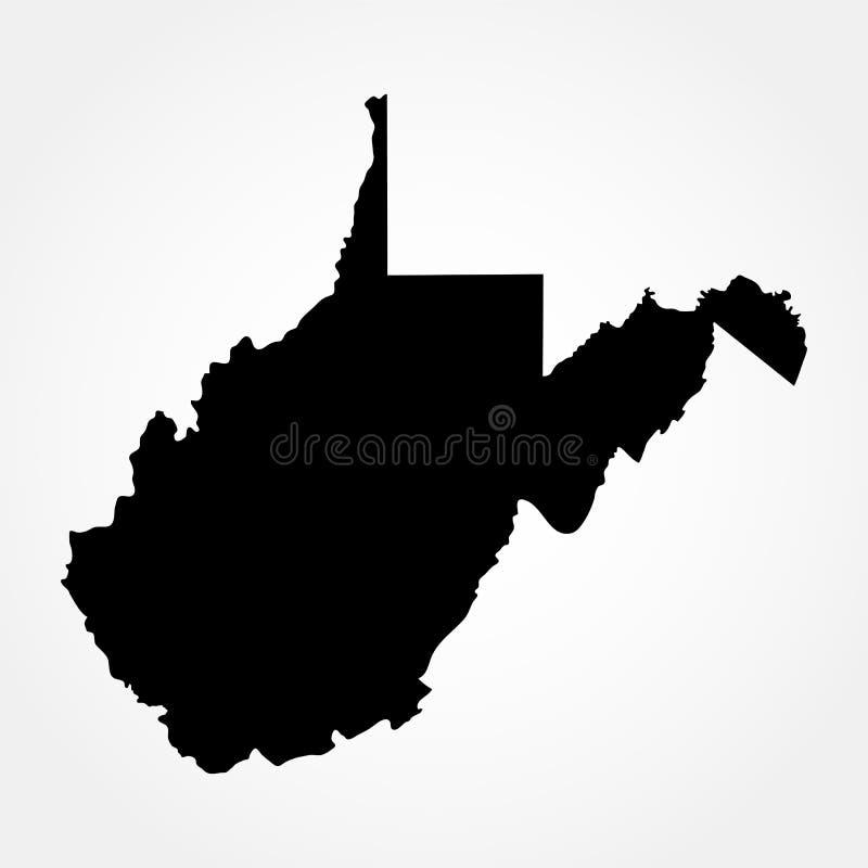 Χάρτης του U S Κράτος της δυτικής Βιρτζίνια ελεύθερη απεικόνιση δικαιώματος
