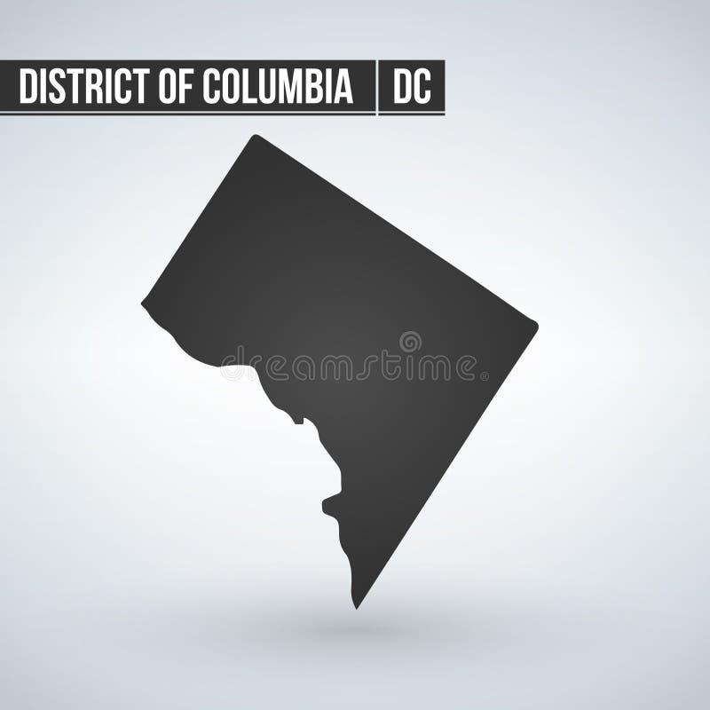 Χάρτης του U S Περιοχή της Κολούμπια, διανυσματική απεικόνιση απεικόνιση αποθεμάτων