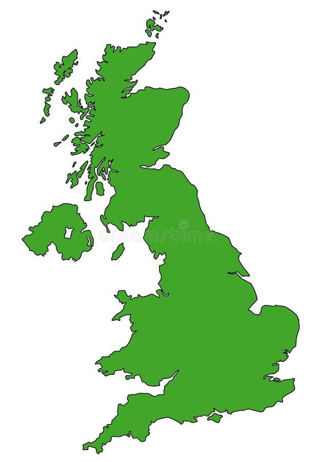 Χάρτης του UK σε πράσινο ελεύθερη απεικόνιση δικαιώματος