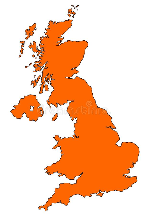 Χάρτης του UK στο πορτοκάλι διανυσματική απεικόνιση
