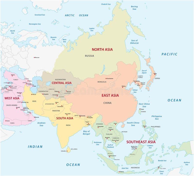 Χάρτης των ασιατικών υποπεριφερειών ελεύθερη απεικόνιση δικαιώματος