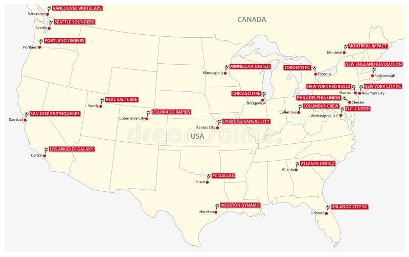 Χάρτης των είκοσι δύο λεσχών του βορειοαμερικανικού ποδοσφαιρικού πρωταθλήματος ελεύθερη απεικόνιση δικαιώματος