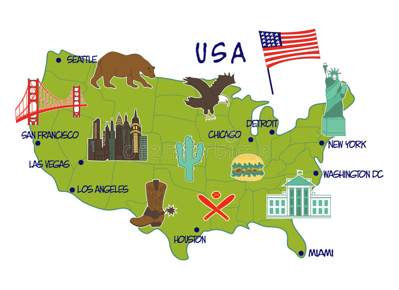 Χάρτης των ΗΠΑ με τα χαρακτηριστικά χαρακτηριστικά γνωρίσματα στοκ εικόνες με δικαίωμα ελεύθερης χρήσης