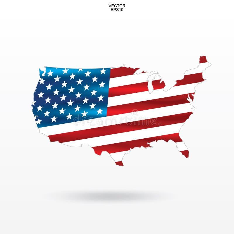 Χάρτης των ΗΠΑ με το σχέδιο αμερικανικών σημαιών Περίληψη του χάρτη ` Ηνωμένες Πολιτείες της Αμερικής ` στο άσπρο υπόβαθρο διανυσματική απεικόνιση