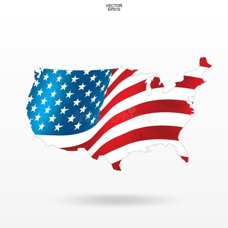 Χάρτης των ΗΠΑ με το σχέδιο και τον κυματισμό αμερικανικών σημαιών Περίληψη του χάρτη ` Ηνωμένες Πολιτείες της Αμερικής ` στο άσπ ελεύθερη απεικόνιση δικαιώματος