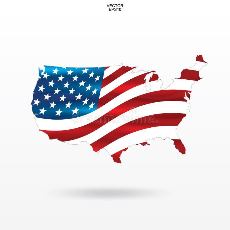 Χάρτης των ΗΠΑ με το σχέδιο και τον κυματισμό αμερικανικών σημαιών απεικόνιση αποθεμάτων