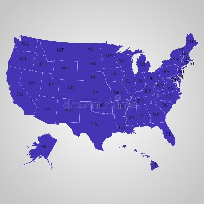 Χάρτης των ΗΠΑ στα μεμονωμένα κράτη με τα ονόματα διανυσματική απεικόνιση
