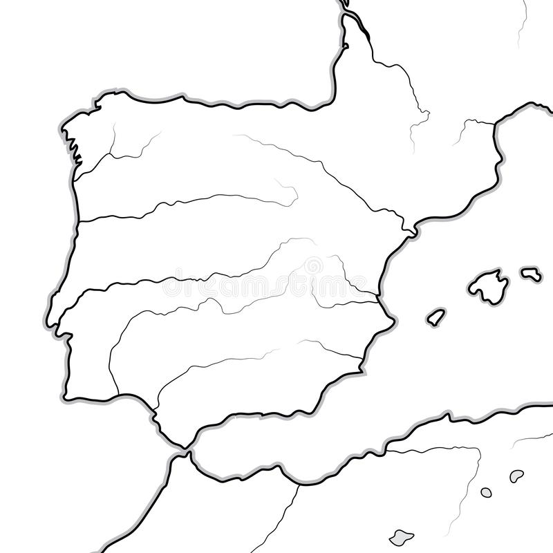 Χάρτης των ΙΣΠΑΝΙΚΩΝ εδαφών: Ισπανία, Πορτογαλία, Καταλωνία, Iberia, τα Πυρηναία Γεωγραφικό διάγραμμα διανυσματική απεικόνιση