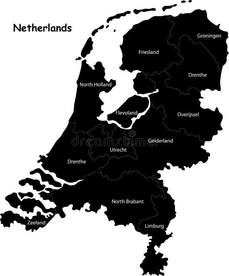 Χάρτης των Κάτω Χωρών διανυσματική απεικόνιση