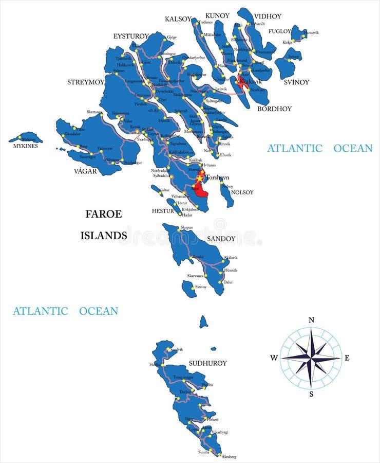 Χάρτης των Νήσων Φαρόι διανυσματική απεικόνιση