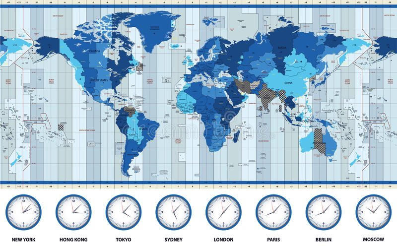 Χάρτης των παγκόσμιων τυποποιημένων διαφορών ώρας στα μπλε χρώματα διανυσματική απεικόνιση