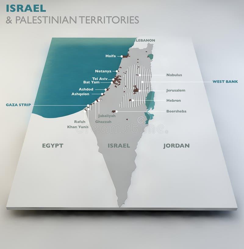 Χάρτης των παλαιστινιακών εδαφών του Ισραήλ και διανυσματική απεικόνιση