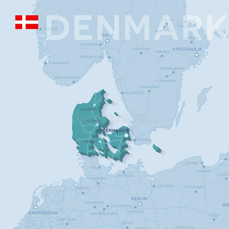 Χάρτης των πόλεων και των δρόμων στη Δανία ελεύθερη απεικόνιση δικαιώματος