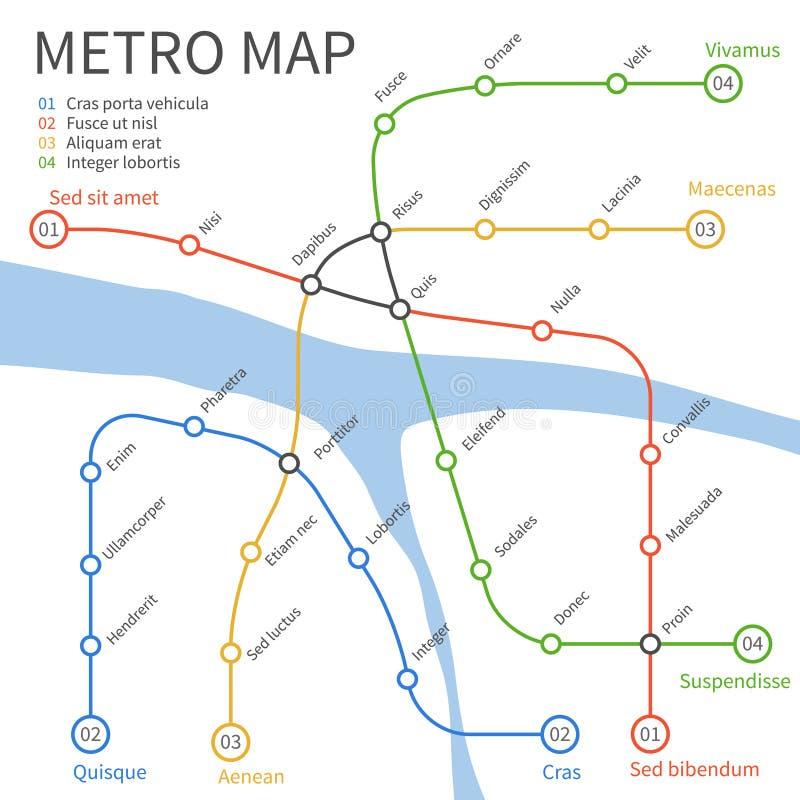 Χάρτης υπόγειων τρένων μετρό Διανυσματική αστική έννοια μεταφορών ελεύθερη απεικόνιση δικαιώματος