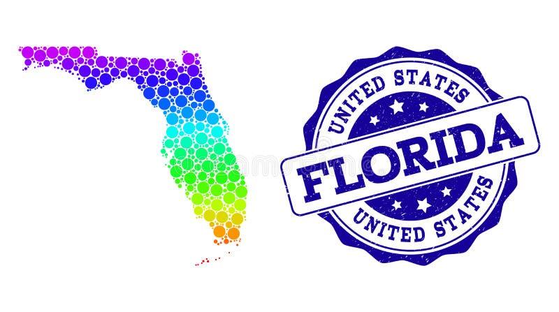 Χάρτης φάσματος σημείων του κράτους της Φλώριδας και της σφραγίδας γραμματοσήμων Grunge διανυσματική απεικόνιση