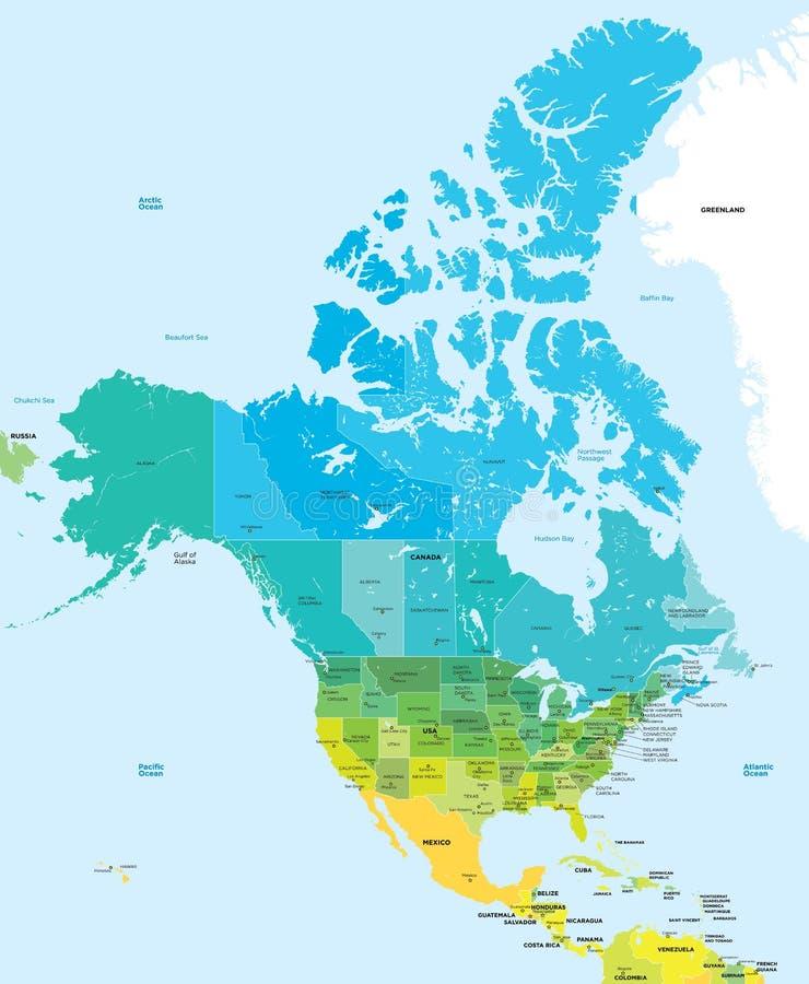 Χάρτης χρώματος των ΗΠΑ και του Καναδά ελεύθερη απεικόνιση δικαιώματος