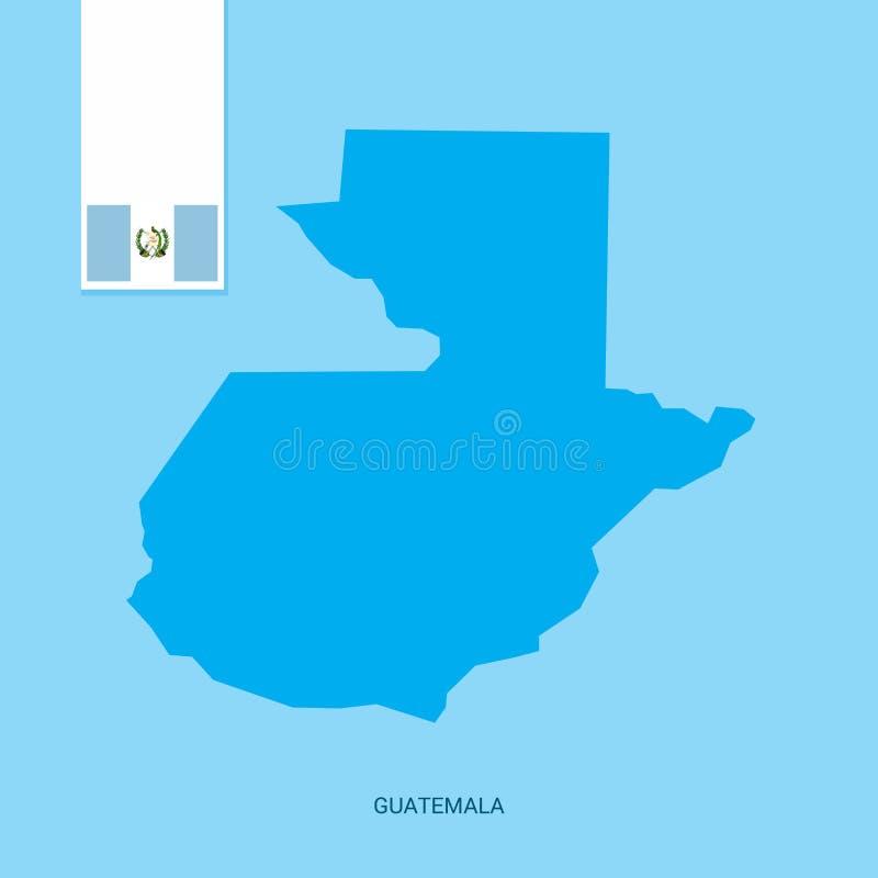 Χάρτης χώρας της Γουατεμάλα με τη σημαία πέρα από το μπλε υπόβαθρο ελεύθερη απεικόνιση δικαιώματος