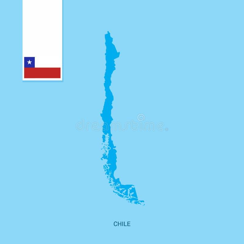 Χάρτης χώρας της Χιλής με τη σημαία πέρα από το μπλε υπόβαθρο ελεύθερη απεικόνιση δικαιώματος