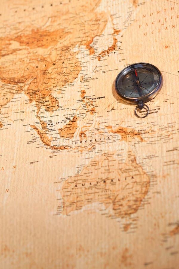χάρτης Ωκεανία πυξίδων πο&upsilo στοκ φωτογραφία με δικαίωμα ελεύθερης χρήσης