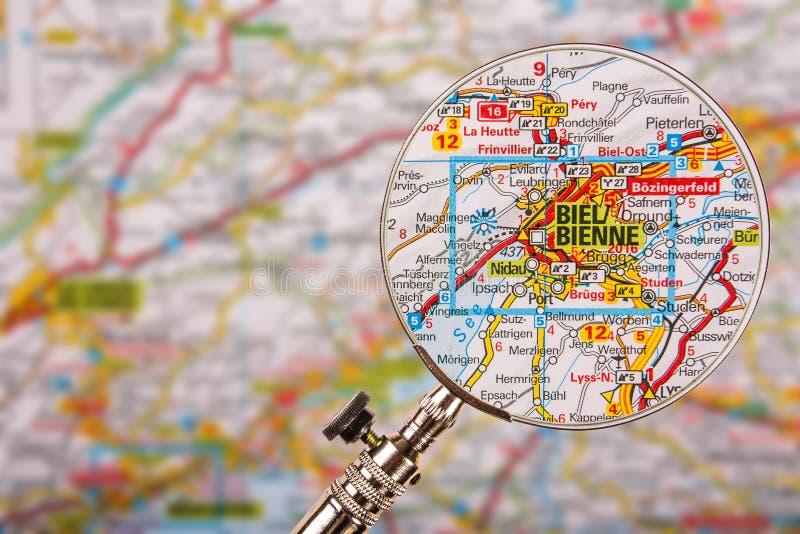 Χάρτης Biel Bienne με την ενίσχυση - γυαλί στον πίνακα στοκ φωτογραφία με δικαίωμα ελεύθερης χρήσης